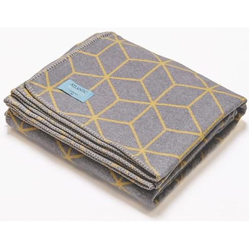 Atlantic Blankets Grau & Gelb Gemusterte Decke aus Recycelter Baumwolle
