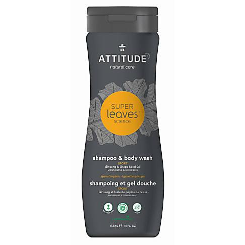 Attitude Super Leaves Shampoo & Bodywash 2 in 1 Sport - Sportler Shampoo & Duschgel