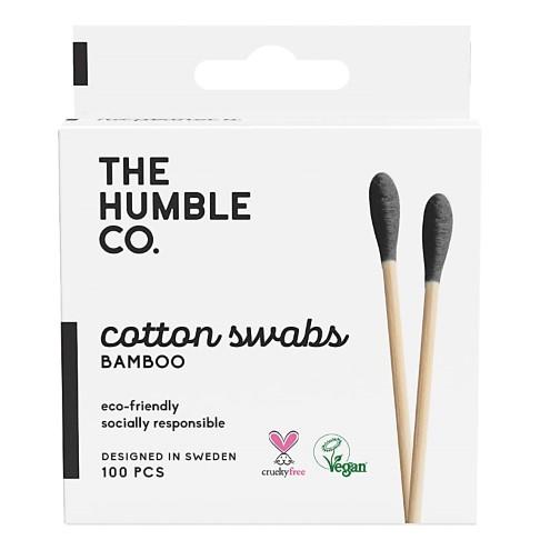 Humble Wattestäbchen aus Bio Baumwolle & Bambus schwarz (100 Stück)
