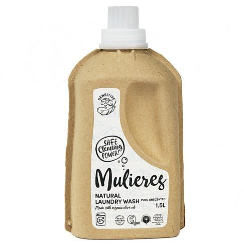 Mulieres Natural Laundry Wash - Pure Unscented Flüssigwaschmittel ohne Duftstoffe1.5L